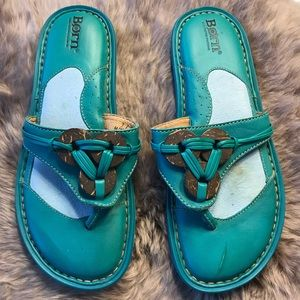 Born size 7 turquoise thongs